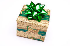 Christmas present with green bow  Royalty Free Stock Images