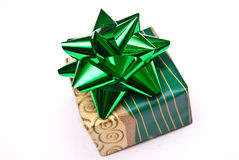 Christmas present with green bow  Royalty Free Stock Photography