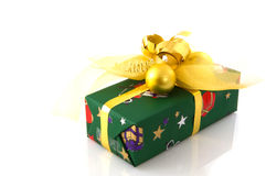 Christmas present green with gold Stock Images