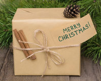 Christmas present with greeting card Stock Image
