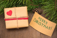 Christmas present with greeting card Stock Photography