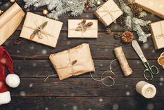 Christmas present handmade on old wooden table with Christmas it Stock Photo