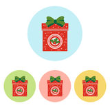 Christmas Present icon. On the white background. Vector illustration Stock Images