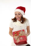 Christmas Present Joyful Woman Stock Images