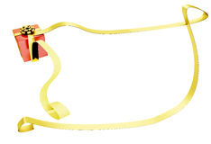 Christmas present with long ribbon Stock Images