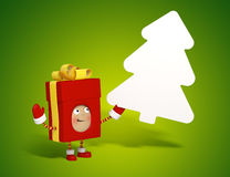 Christmas present with message board Royalty Free Stock Photography