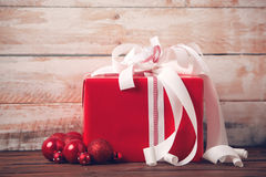 Christmas Present and Ornaments Royalty Free Stock Image