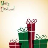 Christmas present overlay card Stock Image