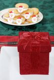 Christmas Present On A Plate Royalty Free Stock Images