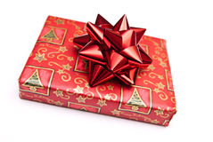 Christmas present with red bow  Stock Images