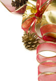 Christmas Present with Red Ribbon and Pine Cones on White Royalty Free Stock Image