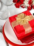 A Christmas present with roses Royalty Free Stock Photos