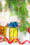 Christmas present with shine bokeh background Royalty Free Stock Photo
