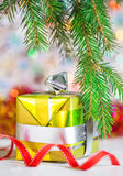 Christmas present with shine bokeh background Royalty Free Stock Image
