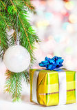 Christmas present with shine bokeh background Royalty Free Stock Images
