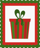Christmas present stamp Royalty Free Stock Photo
