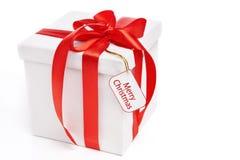 Christmas present with tag stock image