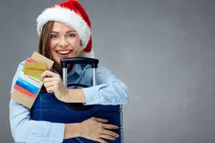 Christmas present travel with gold credit card. Stock Photo
