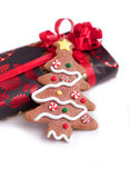 Christmas present with tree Royalty Free Stock Photo