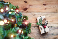 Christmas present under a tree Royalty Free Stock Photography