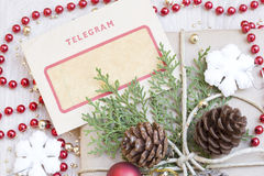 Christmas present and the vintage telegram Royalty Free Stock Image