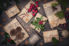 Christmas present. Christmas vintage present on a wooden background stock photos
