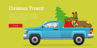 Christmas Present Web Banner with Santa on Pickup. Christmas present web banner. Santa Claus driving pickup loaded with Christmas tree, sack full of gifts and Stock Photography