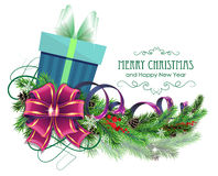 Christmas Present With Purple Bow And Fir Branch Royalty Free Stock Images