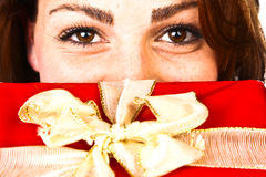 Christmas Present Woman Royalty Free Stock Photo