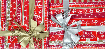 Christmas present wrap in nice red paper Royalty Free Stock Photography