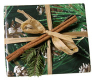 Christmas Present Wrapped with Green Royalty Free Stock Photo