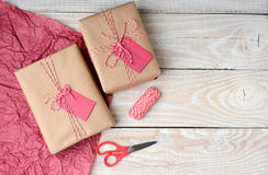Christmas Present Wrapping Stock Photography