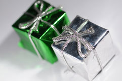 Christmas presents. Decoration isolated against white background stock photo