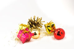 Christmas presents. Isolated on white background Stock Photos