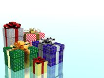 Christmas presents. Boxes (left conner Royalty Free Stock Photo