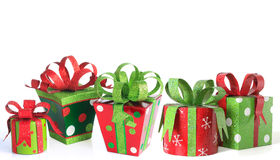 Christmas presents. Contemporary Christmas presents, studio isolated on white Royalty Free Stock Photos
