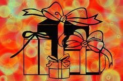Christmas presents. Art work of assorted christmas presents on colorful background Stock Photo