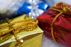 Christmas presents. Close-up of some Christmas presents stock image