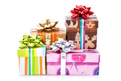 Christmas presents. Colorful christmas presents isolated on white background stock photography