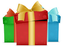 Christmas Presents. An illustration of three christmas presents in different color wrapping papers Royalty Free Stock Images