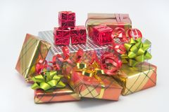 Christmas presents. A bright pile of Christmas presents royalty free stock images