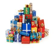 Christmas presents. Big stack of colorful Christmas presents Royalty Free Stock Photo