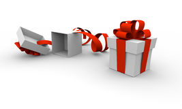 Christmas presents. Two christmas boxes, one closed and one opened Royalty Free Stock Images
