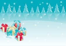 Christmas presents. Vector of christmas presents - gift boxes with bow, candy cane on winter background Royalty Free Stock Photography