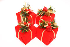 Christmas Presents. Four red Christmas presents on white background Royalty Free Stock Image