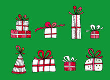 Christmas presents. And decorations - set Stock Photography