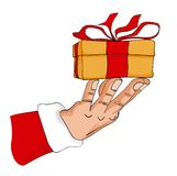 Christmas presents. Llustration of one surprised christmas, from the hand of Santa Claus royalty free illustration