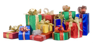 Christmas presents. A bright pile of Christmas presents royalty free stock photos