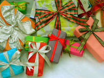 Christmas Presents. Assorted beautiful christmas presents - background Stock Photo