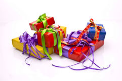 Christmas presents. Bright background with Christmas presents Stock Photography